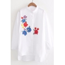 Women's Fashion Floral Embroidered Round Neck Dipped Hem Button Down Tunic Shirt