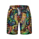 Retro Colorful Oil Painting Monkey Print Drawstring Waist Sports Shorts