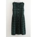 Vintage Style Tartan Plaids Round Neck Bow Button Front Smock Midi Dress