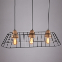 Industrial 3 Light Multi Light Pendant Light with Metal Cage Frame in Nordical Style, 39.37''W