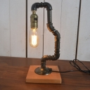 Industrial 13.4''H Table Lamp with Pipe Fixture Arm and Wooden Lamp Base