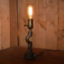 Industrial Simple Table Lamp with Pipe Fixture Arm in Vintage Style, Black