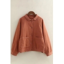 Winter Fashion Lapel Button Down Plain Patched Pockets Linen Jacket