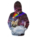 3D Galaxy Cat Printed Long Sleeve Zip Up Hoodie with Pockets