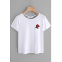 Chic Floral Embroidery Cross Back Short Sleeves Casual Tee