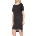 Basic Plain Scoop Neck Short Sleeve High Low Hem Mini T-Shirt Dress
