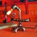 Industrial Vintage 8.7''W Table Lamp with Valve in Open Bulb Style, Rust