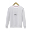 Basic Leisure Simple Letter Printed Round Neck Long Sleeve Pullover Sweatshirt