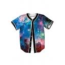 Cool Design Galaxy Print Button Front Short Sleeve Baseball Tee