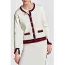 Hot Sale Contrast Trim Round Neck Long Sleeve Button Cardigan