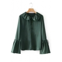 Cute Lapel Collar Plain Ruffle Cuff Long Sleeve Keyhole Front Blouse