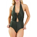 Chic Holiday Sexy Plain Lace Up Front Halter One Piece Swimwear