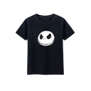 Gothic Skull Cartoon Print Round Neck Short Sleeves Casual Tee