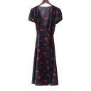 Chic Cherry Floral Print V-Neck Short Sleeve Wrap Midi Dress