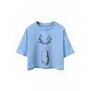 Rabbit Printed Round Neck Short Sleeve Cropped Tee