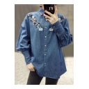 Fancy Floral Embroidered Lapel Button Front Long Sleeve Casual Denim Shirt