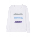 Simple Letter Printed Round Neck Long Sleeve Loose Graphic Tee