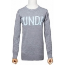 Simple Letter Printed Round Neck Long Sleeve Ribbed Trim Pullover Sweater