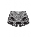 Woman's New Stylish Skull Floral Printed Drawstring Waist Shorts with Pockets