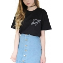 Trendy Planet Pattern Round Neck Short Sleeves Casual Loose Tee