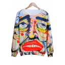 Oil Painting Sad Face Printed Round Neck Long Sleeve Leisure Pullover Sweatshirt