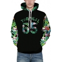 Floral Leaf Letter Printed Long Sleeve Leisure Hoodie for Couple