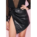 Sexy High Split Front Plain Asymmetric Hem PU Mini A-Line Skirt