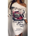 Fashionable Floral Butterfly Letter Landscape Print One Shoulder Mini Dress