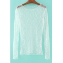 Hot Popular Floral Sheer Lace Round Neck Long Sleeve Tee