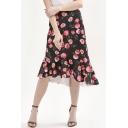 Rose Printed Zipper Fly Asymmetric Hem Ruffle Detail Midi Skirt