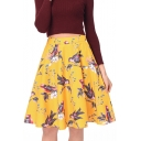 New Stylish Elegant Bird Printed Zipper Fly Midi A-Line Skirt