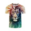 Hot Popular Unisex Digital Lion Printed Round Neck Short Sleeve Tee