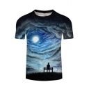 Digital Moonlight Character Printed Round Neck Short Sleeve Tee