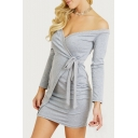 Spring Fashion Plain Bow Belted Long Sleeve Off the Shoulder Mini Wrap Dress