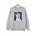 Comic Cat Letter Printed Round Neck Long Sleeve Pullover Sweatshirt
