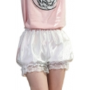Summer Collection Lace Panel Elastic Waist Plain Loose Shorts