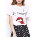 Fashion Lip Letter Printed Round Neck Short Sleeve Leisure Tee