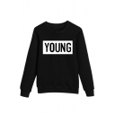 Retro Letter Print Round Neck Long Sleeves Pullover Sweatshirt