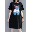 Cartoon Bear Printed Round Neck Short Sleeve Midi T-Shirt Dress