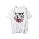 Stylish Tiger Letter Print Round Neck Short Sleeves Summer T-shirt