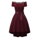 Ladylike Plain Lace Insert Bow Belted Off the Shoulder High Low Hem A-line Dress