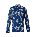 Retro Crane Printed Lapel Collar Long Sleeve Buttons Down Tunic Shirt