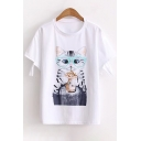 Glasses Cat Printed Round Neck Short Sleeve Cut Out Detail Tee