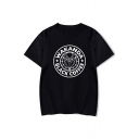 Chic Letter Cartoon Printed Round Neck Short Sleeve Loose Tee