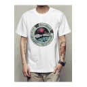 Unique Spacecraft Universe Letter Print Round Neck Short Sleeves Casual Tee