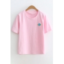 Leisure Small Planet Embroidered Round Neck Short Sleeve Tee