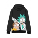 Top Sale Letter Cartoon Print Long Sleeves Pullover Hoodie with Pocket