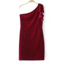 Basic Velvet One Shoulder Slim Plain Mini Party Dress
