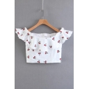 Lovely Cheery Printed Off The Shoulder Short Sleeve Zip Up Back Cropped Blouse