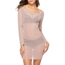 Women's Sexy Boat Neck Long Sleeve See Through V-Back Bodycon Mini Party Dress